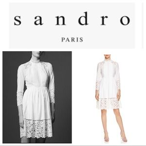SANDRO Enja Lace Detail Lined Dress In White